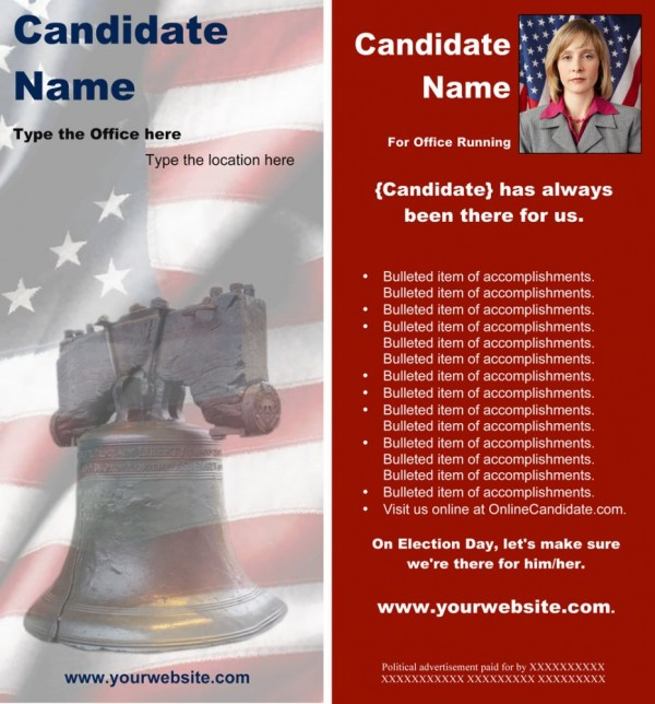 Political Rack Card Templates - Red Liberty Bell Theme