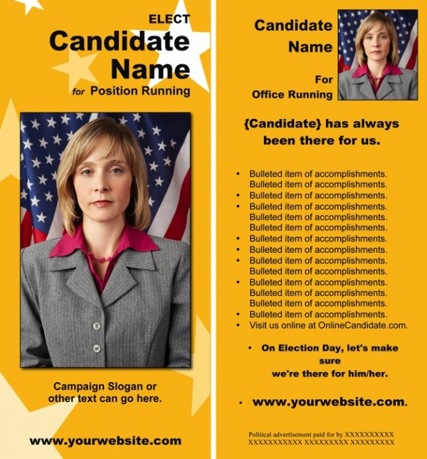 Political Rack Card Templates - Yellow and Blue with Stars Theme