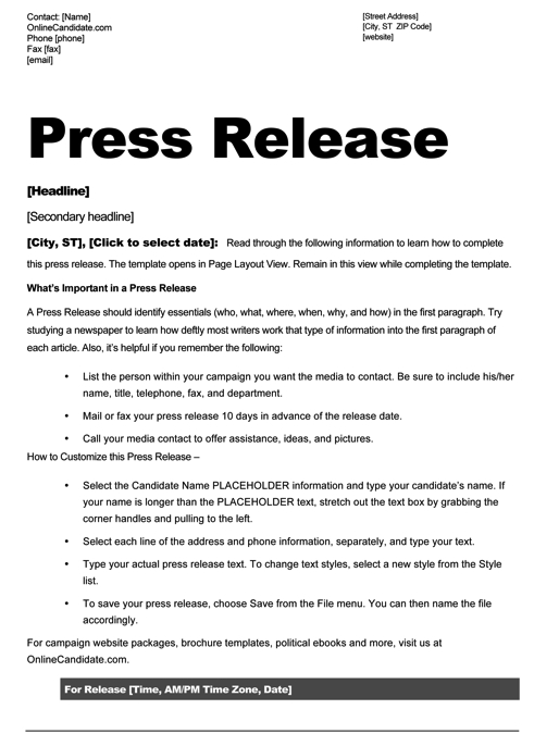 Political Press Release Template
