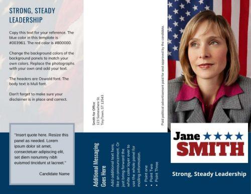 Political brochure with slogan