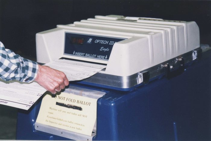 Voting machine in use