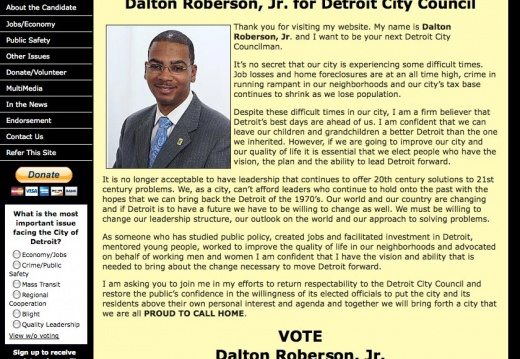 Dalton Roberson - Detroit City Council Election