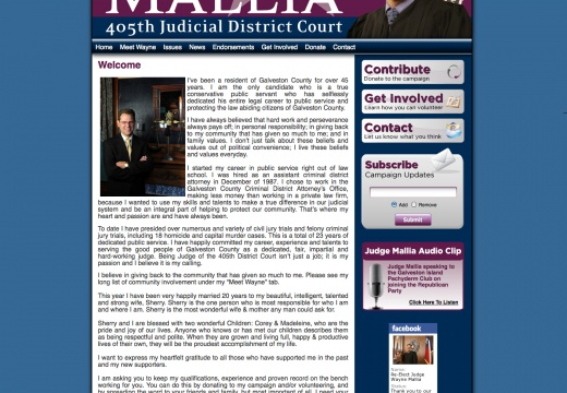 Judge Wayne Mallia for 405th Judicial District Court