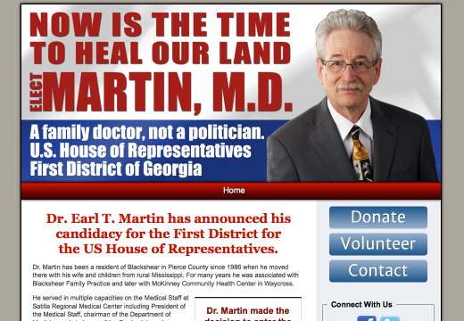 Earl T Martin for the First District for the US
