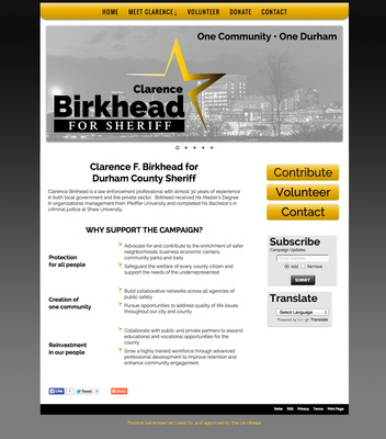 Clarence F Birkhead for Durham County Sheriff
