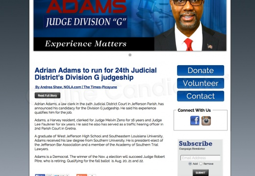 Adrian Adams For 24th Judicial District\'s Division G