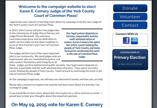 Karen E Comery for Judge of the York County Court of Common Pleas