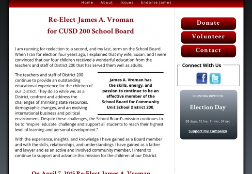 Re-Elect James A. Vroman for Community Unit School District 200 School Board