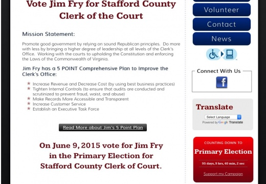 Jim Fry for Stafford County Clerk of the Court