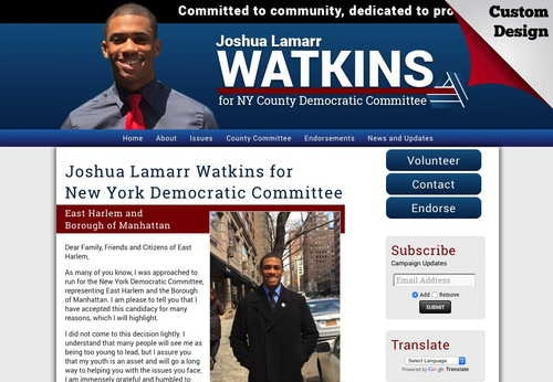 Joshua Lamarr Watkins for New York Democratic Committee