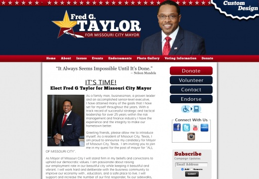 Elect Fred G Taylor for Missouri City Mayor