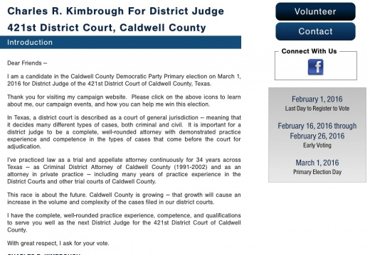 Charles R. Kimbrough For District Judge 421st District Court, Caldwell County