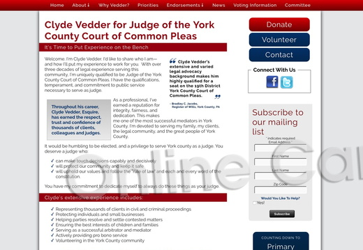 Clyde Vedder for Judge of the York County Court of Common Pleas