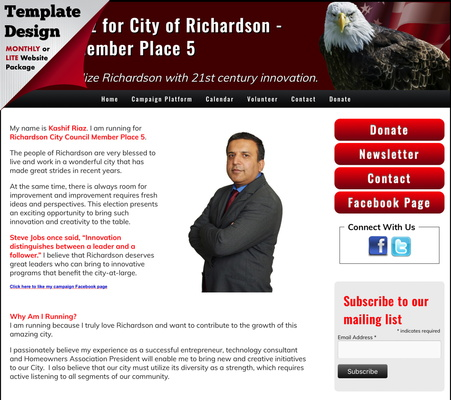 Kashif Riaz for City of Richardson - Council Member Place 5