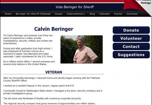 Calvin Beringer for Sheriff