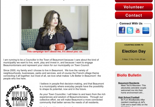 Elect Jacqueline Biollo, MBA Candidate for Councillor, Town of Beaumont