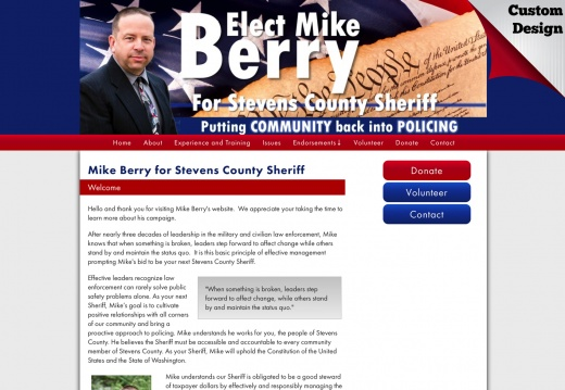 Mike Berry for Stevens County Sheriff