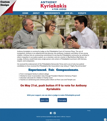 Judical Campaign Website Home Page
