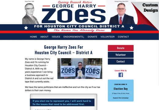 George Harry Zoes For Houston City Council – District A