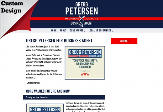 Gregg Petersen for Plumbers Local 12 Business Agent