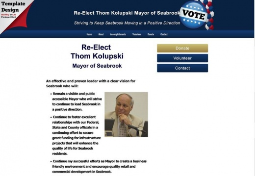 Re-Elect Thom Kolupski Mayor of Seabrook