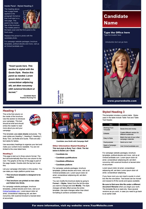 Political Brochure Templates - Blue & Red Stripe Theme with Flag
