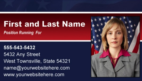 Political Business Card Templates - Blue & Red Stripe Theme with Flag
