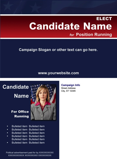 Political Post Card Templates - Blue & Red Stripe Theme with Flag