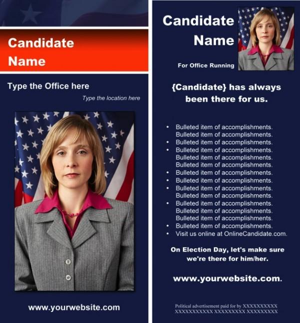 Political Rack Card Templates - Blue & Orange Stripe with Flag Theme