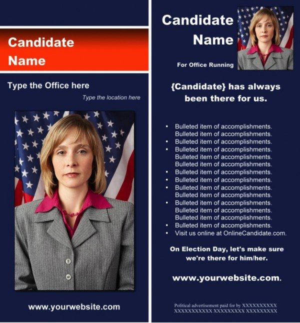 Political Rack Card Templates - Blue and Orange Stripe Theme