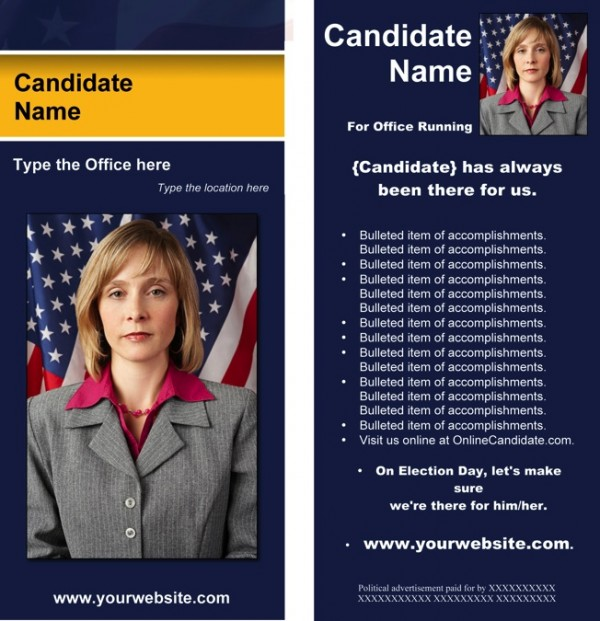 Political Rack Card Templates - Blue & Yellow Stripe with Flag
