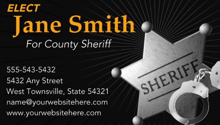 sheriff candidate print templates black and gold theme. Black Bedroom Furniture Sets. Home Design Ideas