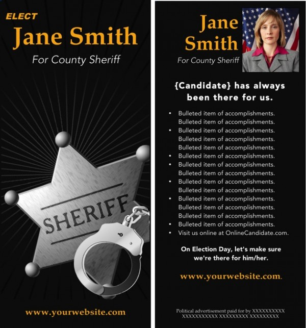 Sheriff Candidate Rack Card Templates - Black and Gold Theme