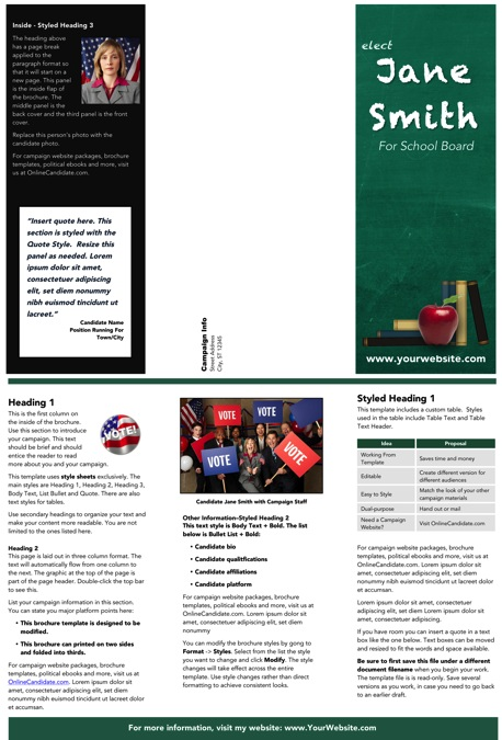 School Board Campaign Brochure Templates - Green Chalkboard Theme