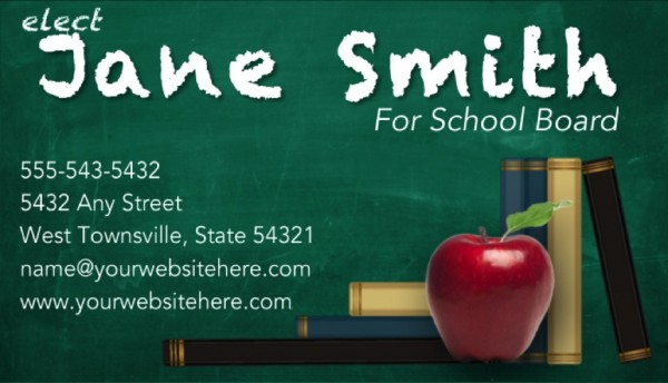 School Board Campaign Business Card Templates - Green Chalkboard Theme