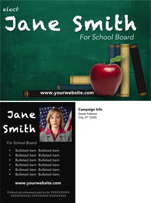 School Board Campaign Post Card  Templates - Green Chalkboard Theme