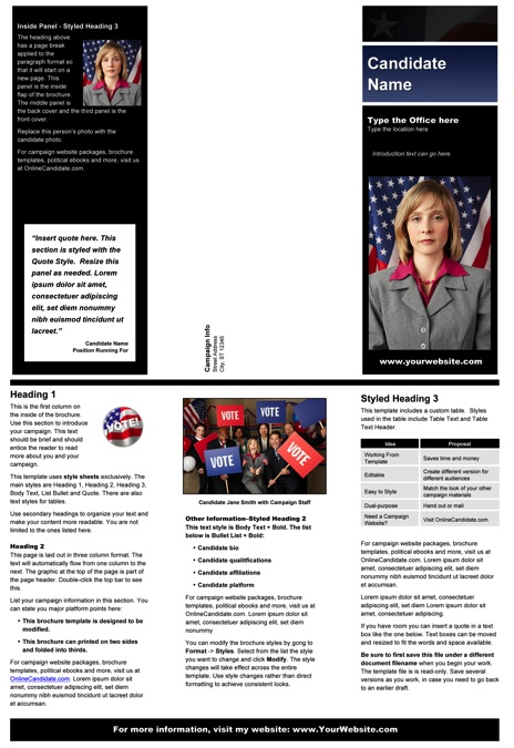 Political Brochure Templates - Black & Blue Stripe with Flag Theme
