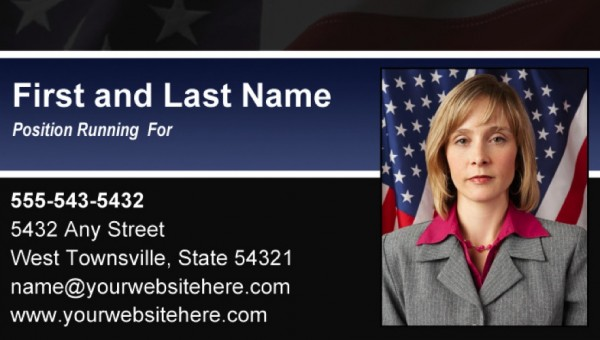 Political Business Card Templates - Black & Blue Stripe with Flag Theme