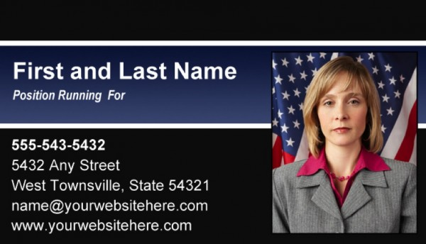 Political Business Card Templates - Black and Blue Stripe Theme