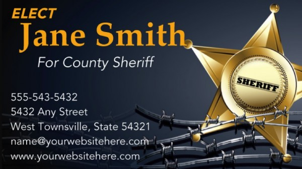 Sheriff Candidate Business Card Templates - Black and Gold Theme