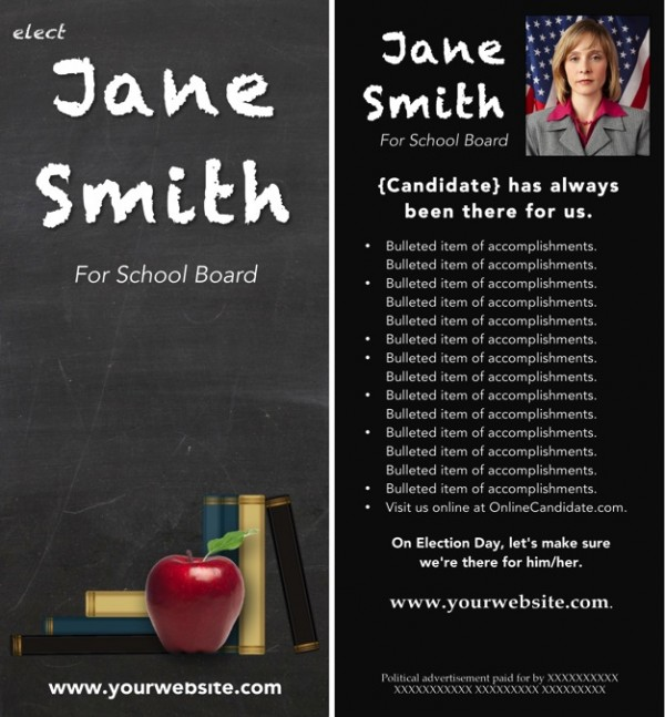 School Board Campaign Rack Card Templates - Gray Chalkboard Theme