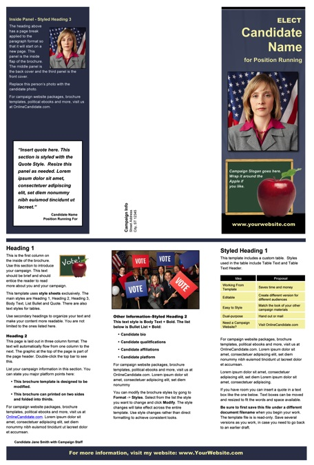 School Board Campaign Brochure Templates - Slate Blue and Yellow