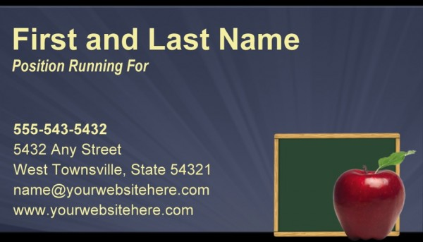 School Board Campaign Business Card Templates - Slate Blue and Yellow