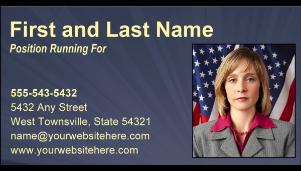 Political Business Card Templates - Slate Blue, Black and Yellow Theme
