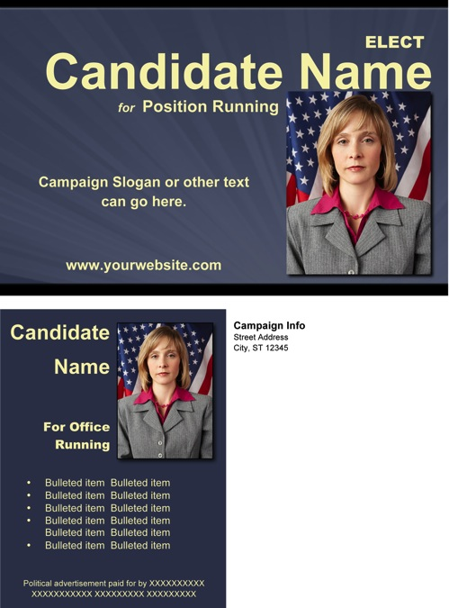Political Post Card Templates - Slate Blue and Yellow Theme