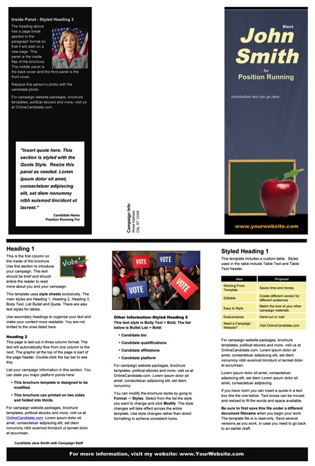 School Board Campaign Print Templates Slate Blue And Black - Campaign brochure template