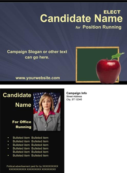 School Board Campaign Post Card Templates - Slate Blue and Black