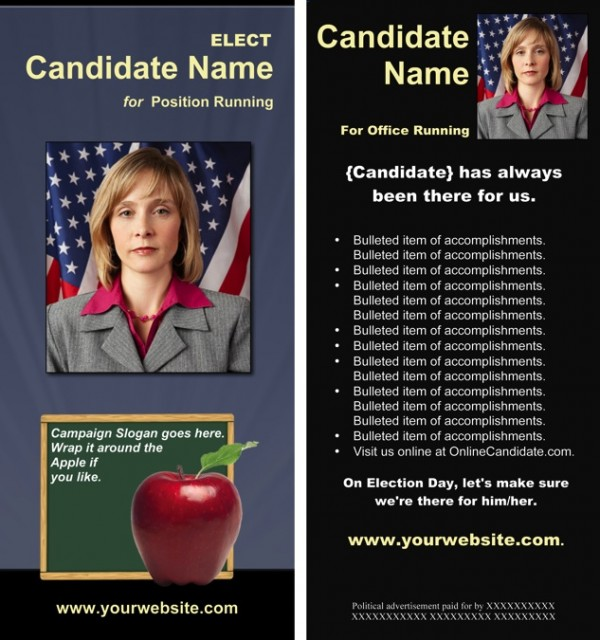 School Board Campaign Rack Card - Slate Blue and Black