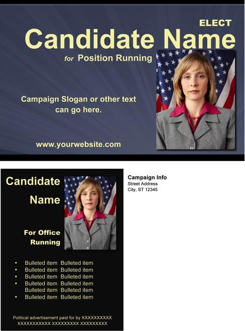Political Rack Card Templates - Slate Blue, Black and Yellow Theme
