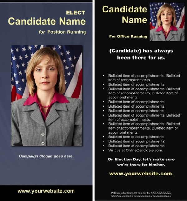 Political Rack Card Templates - Slate Blue, Black and Yellow Theme